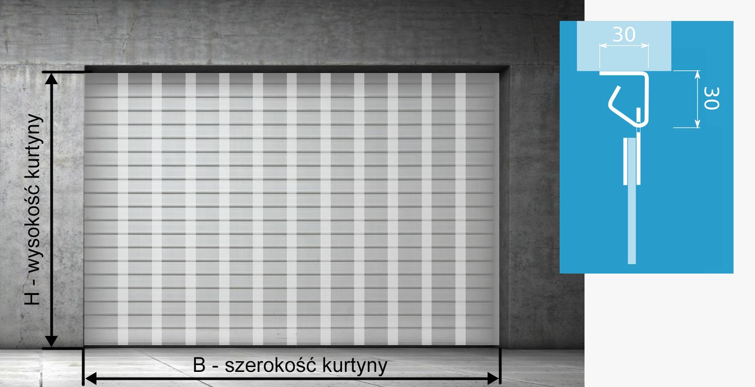 Na zdjęciu jest pokazana kurtyna paskowa zamontowana w świetle otworu