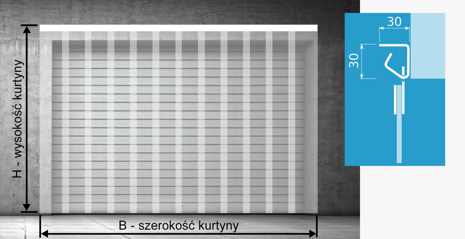 Zdjęcie pojazuje montaż naścienny kurtyny paskowej
