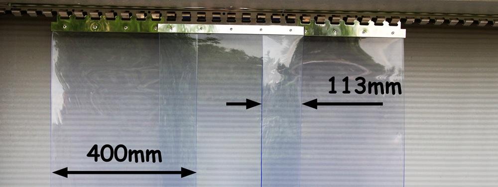Kurtyny paskowe z zakładem 113mm - pasy o szerokości 400mm