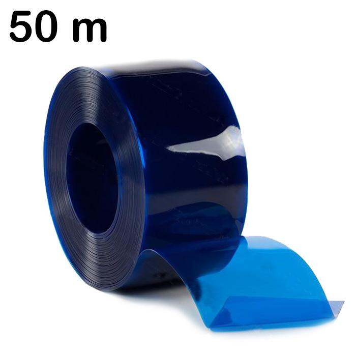 Pas PCV niebieski przezroczysty – rolka 50 m
