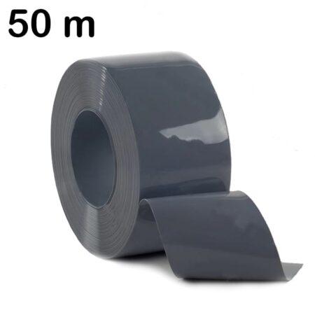 Pas PCV szary ciemny zwinięty w rolkę o długości 50 m