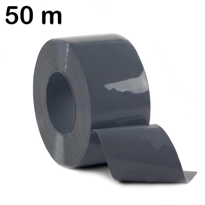 Pas z folii PCV w kolorze szarym ciemnym w ilości 50 m zwinięty w rolkę