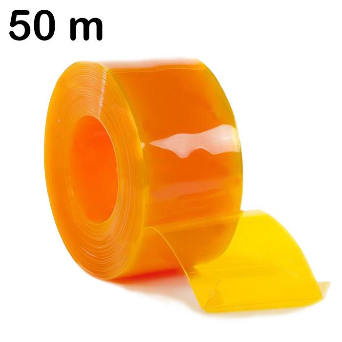 Pas żółty z elastycznej folii PCV sprzedawany w rolkach o długości 50 m
