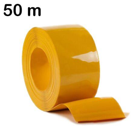 Pas PCV żółty zwinięty w rolkę o długości 50 m