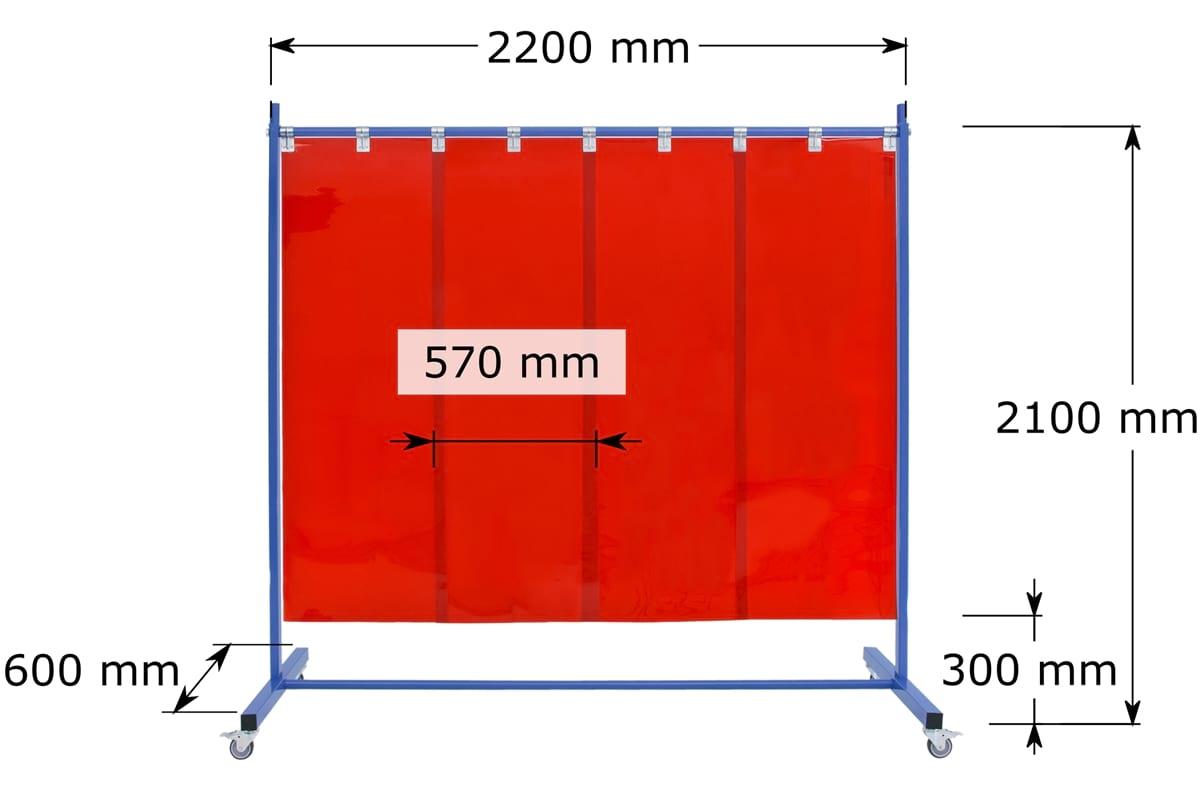 Parawan jednoczęściowy z lamelami spawalniczymi 570x1mm